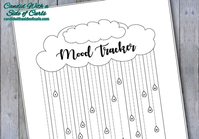 photograph regarding Mood Tracker Bullet Journal Printable identify Rain Cloud Month-to-month Temper Tracker Bullet Magazine-Printable Internet pages