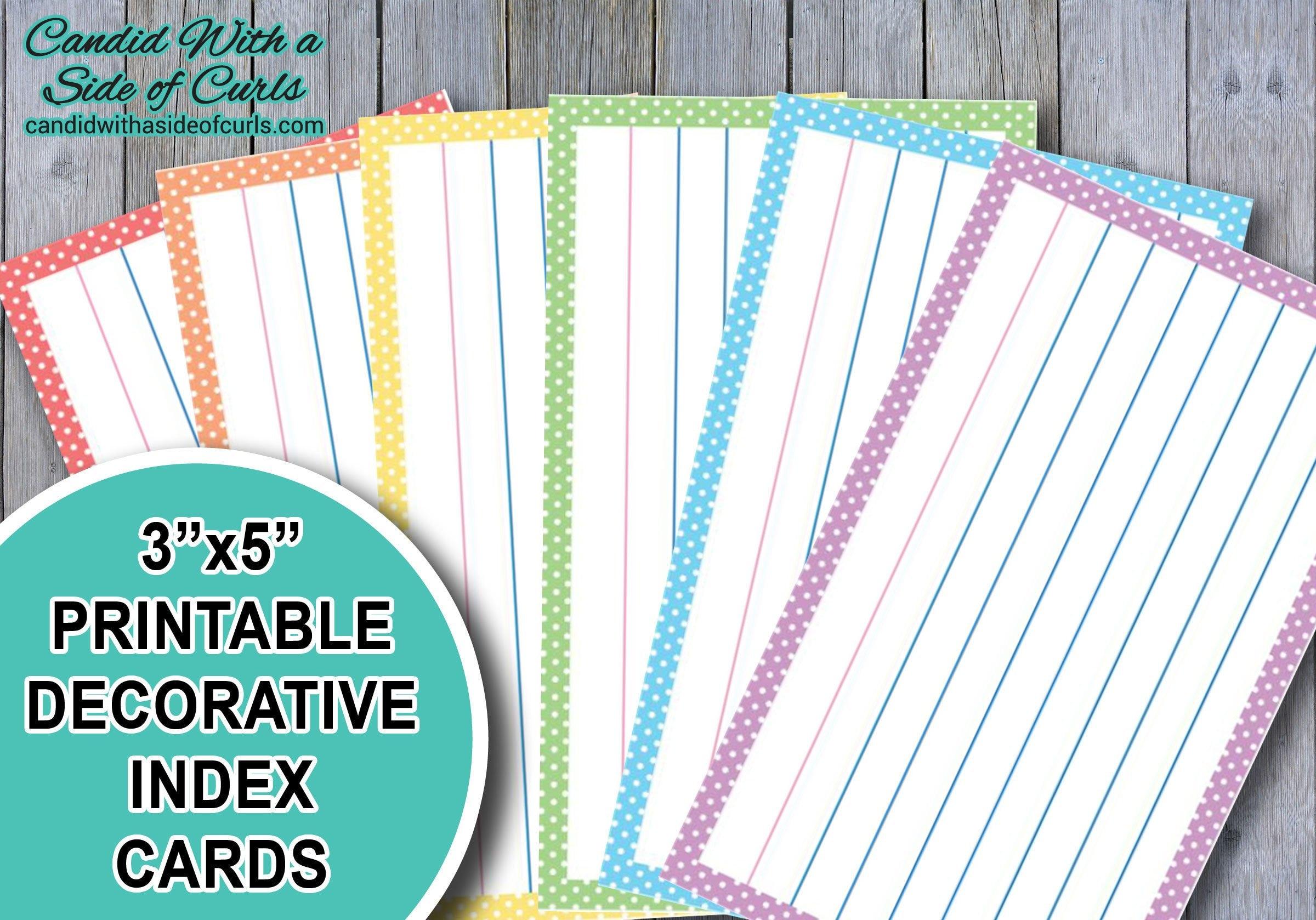 225x25 Druckbare dekorative Pastell Karteikarten Intended For 3 X 5 Index Card Template