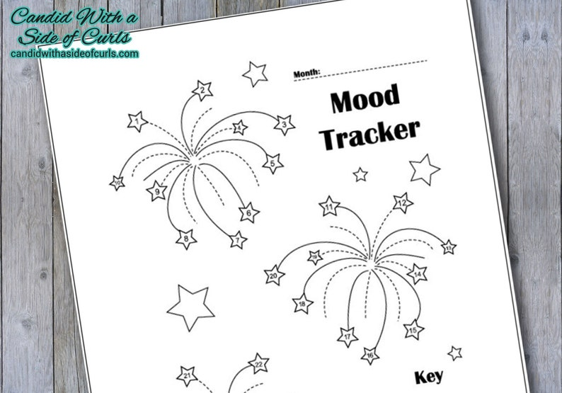 photograph regarding Mood Tracker Bullet Journal Printable called Fireworks Every month Temper Tracker Bullet Magazine-Printable Webpages