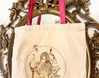 Hand made custom illustrated SAGITTARIUS tote bag