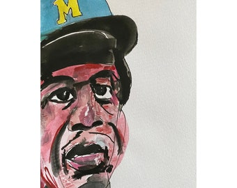 Hank Aaron - Watercolor on Paper 6x8in Baseball Player Milwaukee Braves Home Run King
