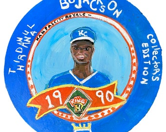 Bo Jackson - Acrylic on Circular Canvas 12x12in Original Baseball Card Art Painting