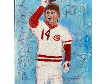 Pete Rose - Acrylic on Canvas 11x14 Original Baseball Art Painting