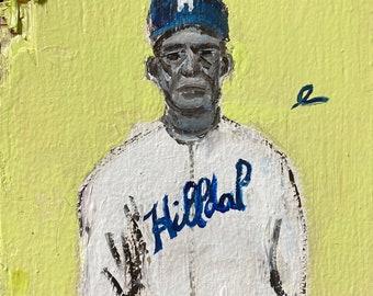 Louis Santop - Acrylic on Upcycled Scrapwood 8x8in Original Negro League Baseball Art Painting