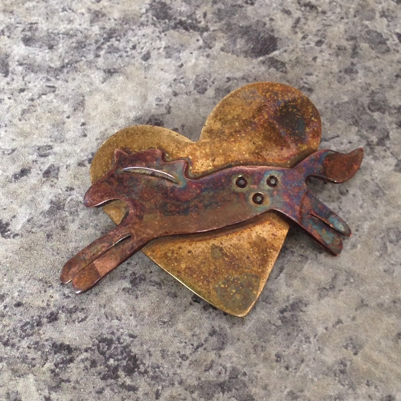 """Copper /& Brass /""""Love/"""" Pin Far Fetched Sterling Silver"""