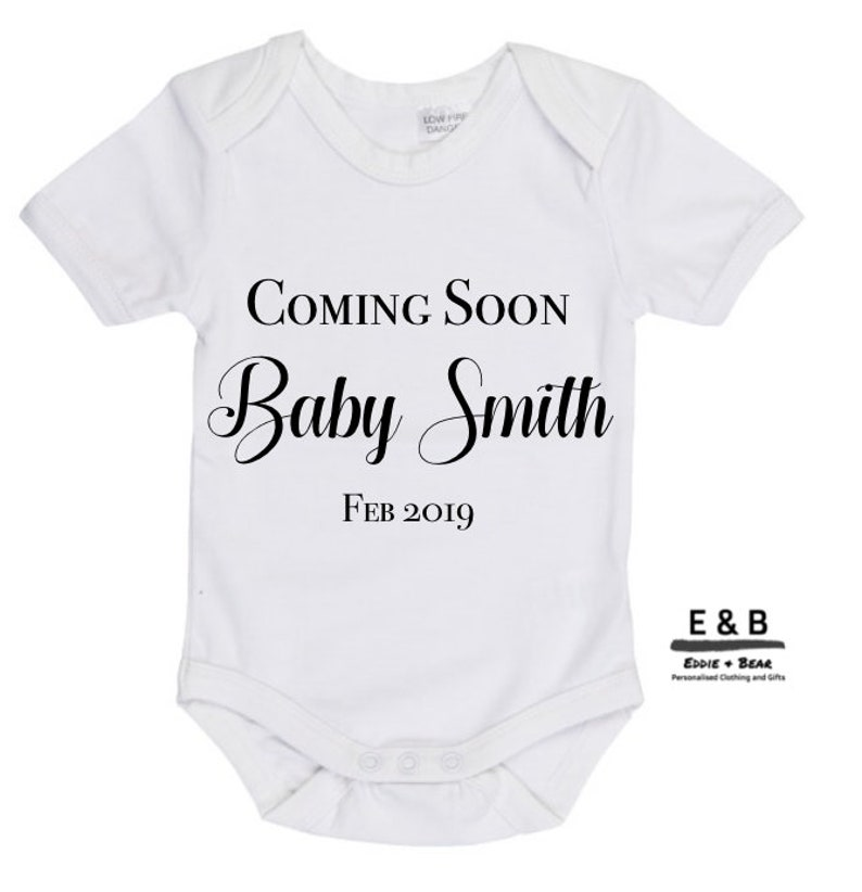 b274a11a56452 Coming Soon Baby Surname Due Date Personalised Pregnancy | Etsy