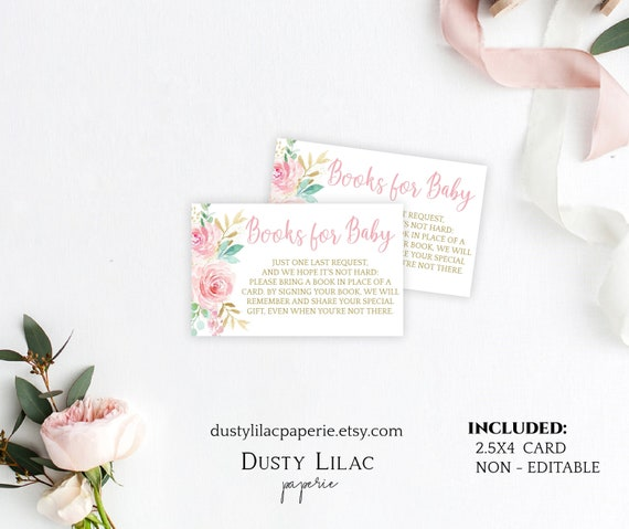 Printable Books For Baby Card Template Blush Pink Floral Book Request Insert Card Diy Boho Baby Girl Shower Invite Dlpb12