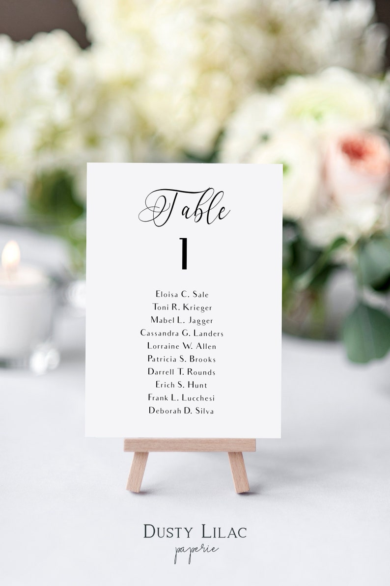 0681b8d6edb Printable table number cards with guest names black and white