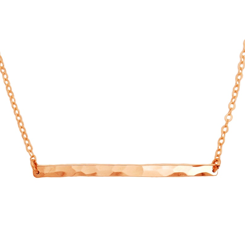 Horizontal Hammered 14k Rose Gold Fill Bar Necklace