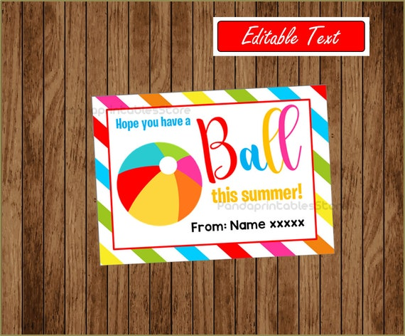 image relating to Have a Ball This Summer Printable named Consist of A Ball This Summer months Yr Finish Past Working day of College Prefer Tag Electronic Printable, Editable, customized, Instantaneous Down load