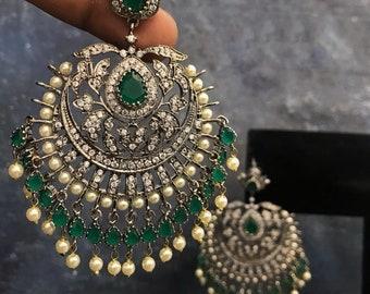 112610197 Chandelier Earrings/ Indian Earrings/ Indian Jewelry/ Pakistani Jewelry/  Cubic Zirconium AD earrings/ Victorian Earrings/ American Diamond