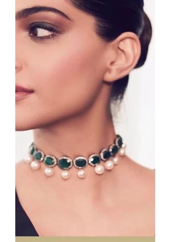 Deepika Padukone Choker Indian JewelrySabyasachi Necklace Emerald Indian Choker Indian NecklaceBollywood Jewelry