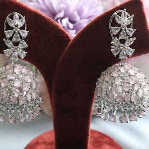 Black Diamond Jhumki Small Jhumka CZ Jhumka Indian Jewelry Pakistani Jewelry Indian Earrings American Diamond