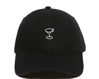 d658addb41506 DSGN By DNA Martini Glass Baseball Cap Embroidered Cotton Adjustable Dad Hat