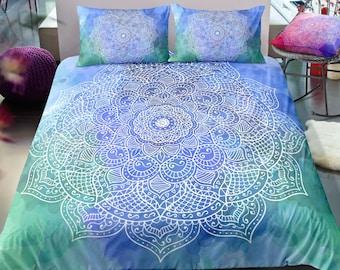 acaf2e6a2d3e Mandala Green and Blue Duvet Cover,Tie Dye Colors Duvet Cover, Bohemian  Bedding, Boho Bedroom Decor, Bed Textiles, All Sizes Available