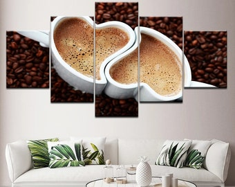 COFFEE COLLECTION KITCHEN DESIGN CANVAS WALL ART PRINT PICTURE READY TO HANG