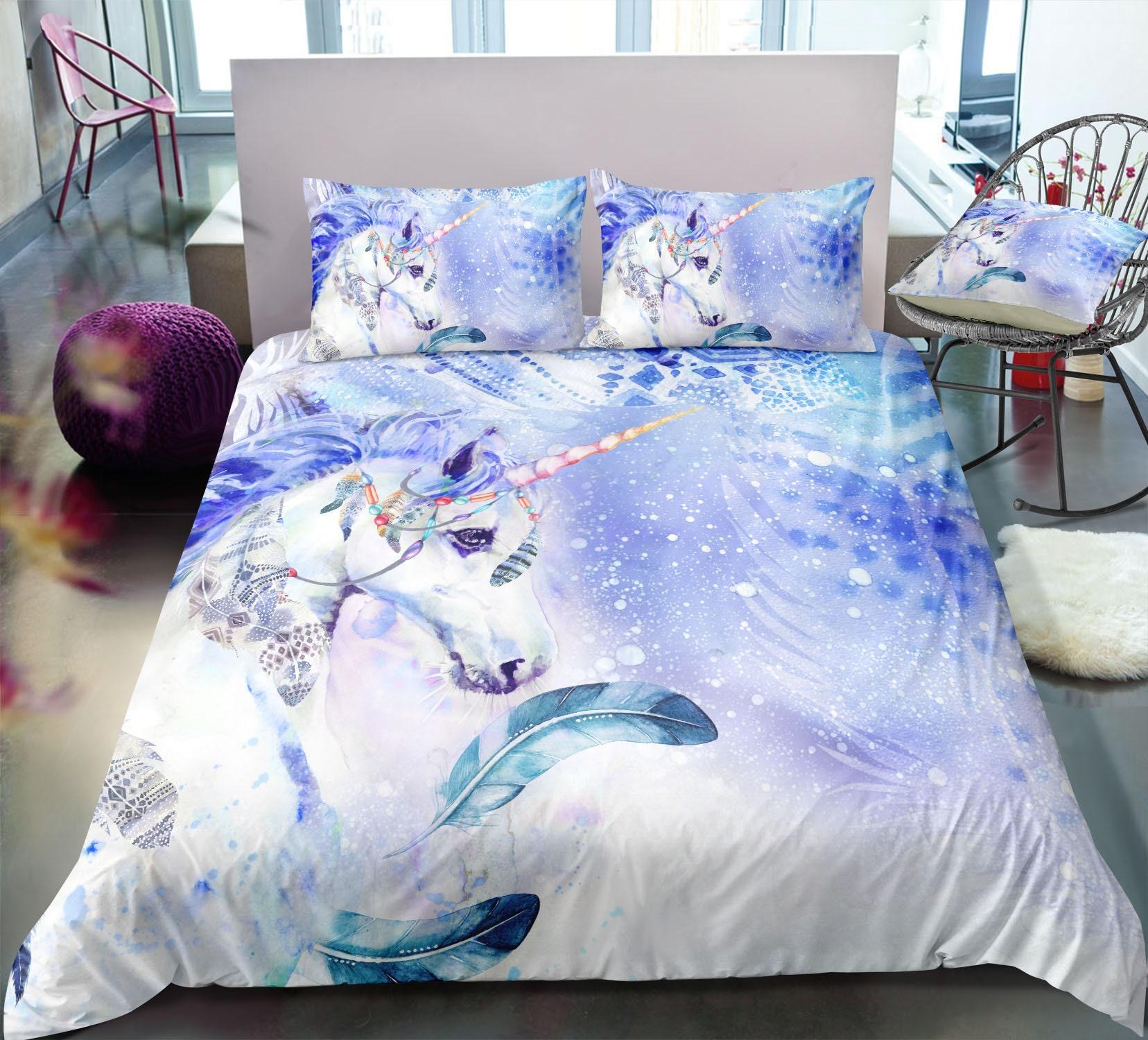 Blue Unicorn Duvet Cover Unicorn Feather Bedding Blue Girl Etsy