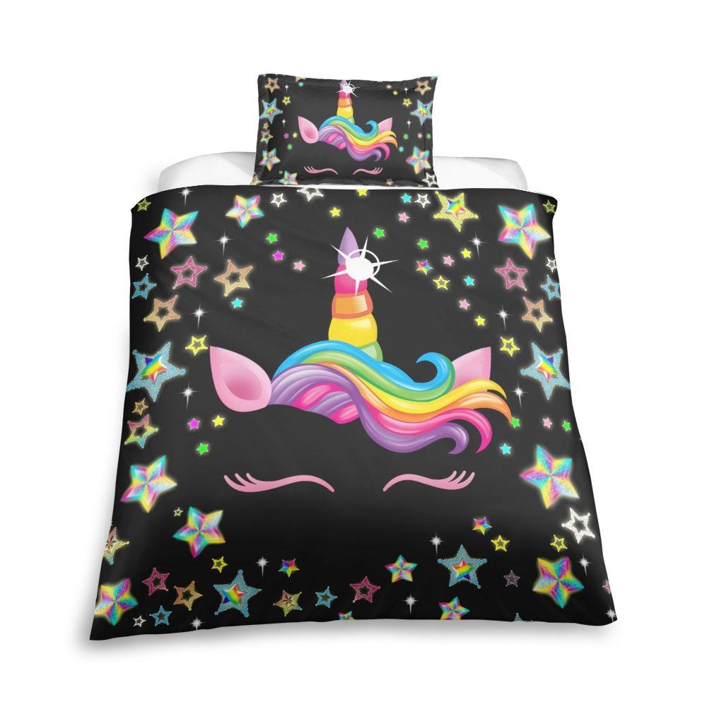 Unicorn Black Duvet Cover Set,Neon Colors, Rainbow, Unicorn Bedding Decor, Cadeau d'anniversaire, Livre d'amant de maïs