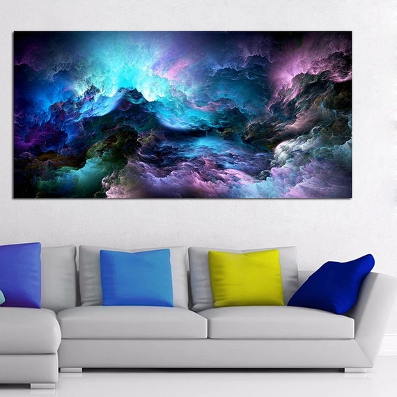 Blue and Purple Abstract Painting, Modern Wall Decor, Abstract Canvas  Print, Large Wall Art for Living Room, Office Decor