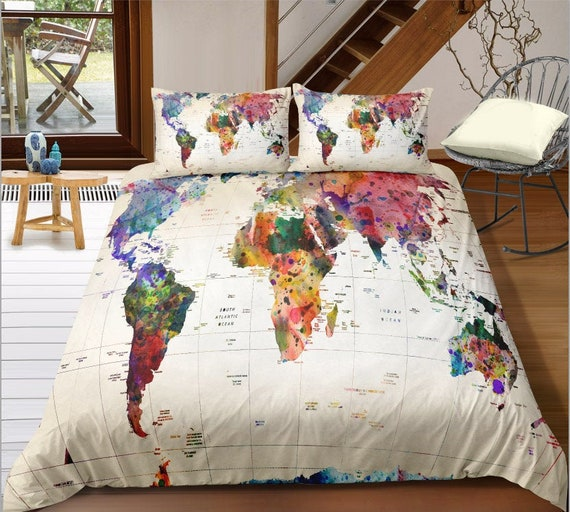 World Map Duvet Cover, Traveller Bedding, Around the World Duvet Cover,  Teenager Room Decor, Backpack traveller Gift