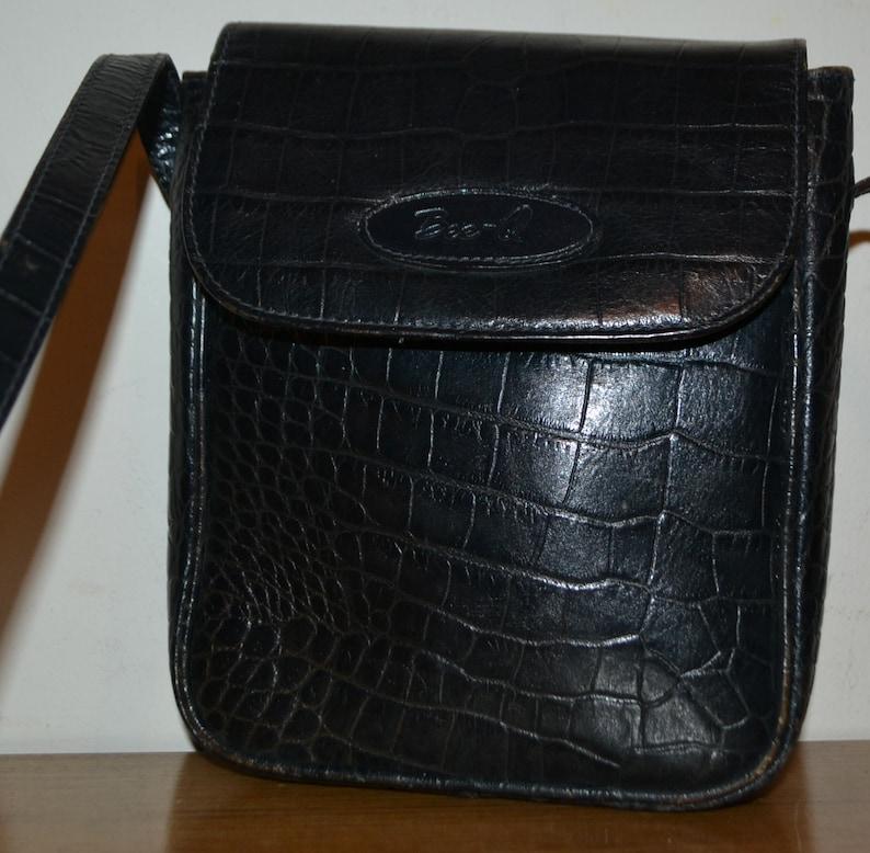 9e28ce98498fa8 Vintage Handtasche 80er Jahre Kroko Optik schwarz | Etsy