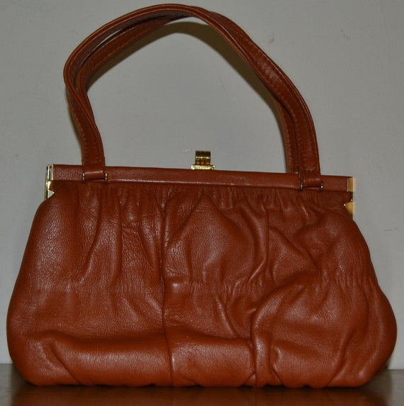 Vintage classy Little Leather Handbag 60s Orange M