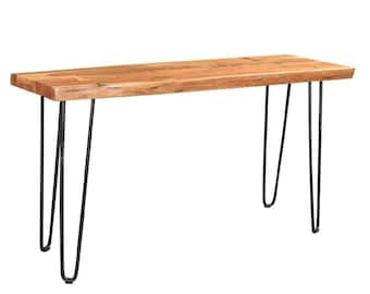 Driftwood Live Edge Solid Acacia Console Table With Hairpin Legs