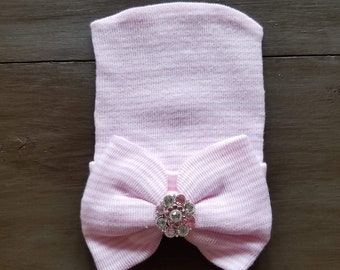 5270d5b38 Baby Girl Newborn Hospital Hat - Pink and White striped with Large Gem on  Bow
