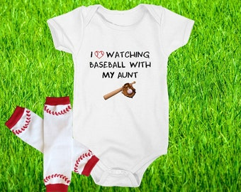 I Love Watching Baseball With My Grandma Cute Baby Bodysuit Outfit with Leg Warmers