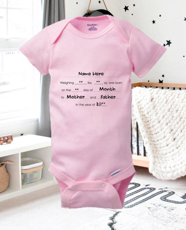 Baby Girl Birth Announcement Cute Baby Boy Onesie