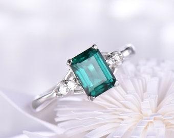 5x7mm Emerald Cut Emerald Engagement Ring Bridal Wedding Ring 14K/18K Gold Half Eternity Micro Pave Birthstone Anniversary Ring Split Shank