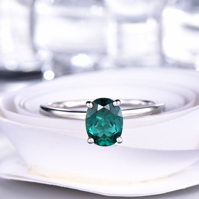 Emerald Solitaire Engagement Ring Plain White Gold Band 8x6mm Oval Emerald Ring Women Dainty Wedding Bridal Jewelry 14K18K Sterling Silver