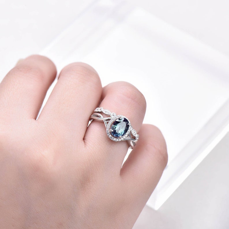 Alexandrite Engagement Ring Unique Vintage Infinity Wedding Ring Set 6x8mm Oval June Birthstone Art Deco Diamond Wedding Band 14K White Gold