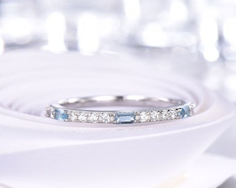 Blue Topaz Wedding Band Half Eternity Diamond Wedding Ring 14K White Gold Anniversary Gifts for Her Stacking Matching Band