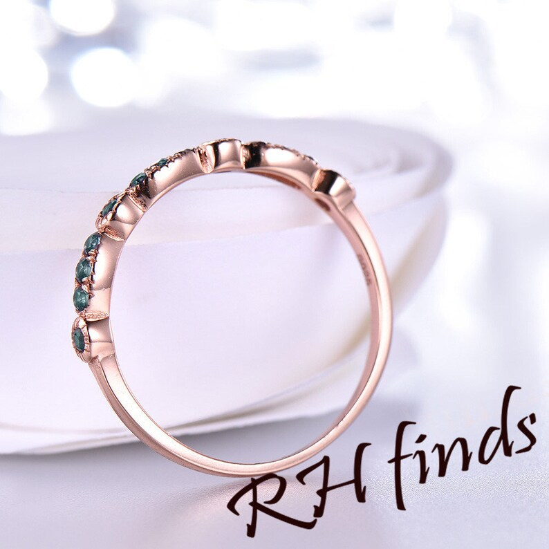 Alexandrite Wedding Band Art Deco Wedding Band Color Changed Stones in 14K Rose Gold