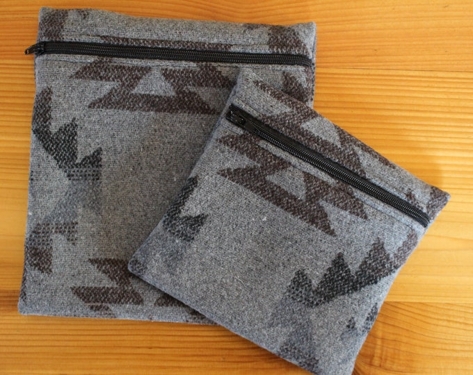 Upcyled Reusable Bag - GREY AZTEC