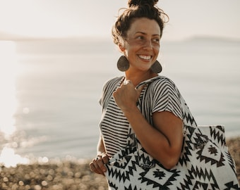 The Everything Bag - CLASSIC BLACK + WHITE - Boho - Yoga Bag - Beach Bag - Weekender - Adventure Bag - Baby Bag - Market Bag - Upcycled