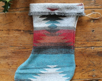 Christmas Stocking - THE TRAVELLER - Boho - Aztec - Southwest - Navajo - Upcycled