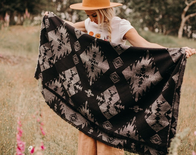 Tofino Beach Blanket - THE TRIBAL-  Aztec - Navajo - Southwest - Throw - Camping - Boho - Yoga - Bedding - Cozy