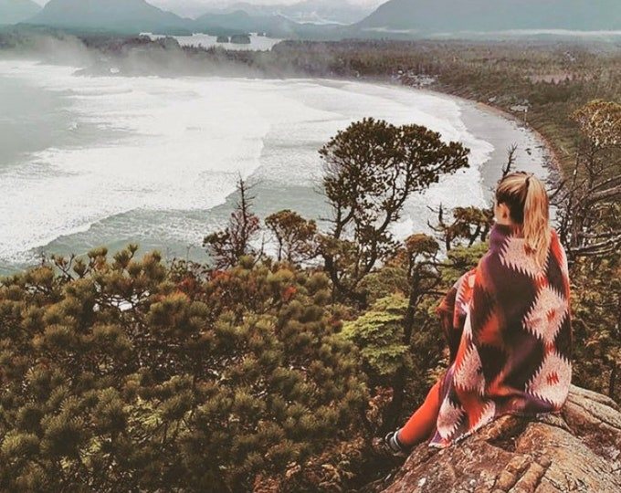 Tofino Beach Blanket - SUNSET -  Boho - Aztec - Navajo - Camping Blanket - Throw Blanket - Yoga Blanket - Blanket Scarf - Southwest