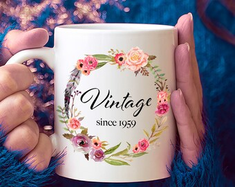 60th Birthday Ideas 60 Year Old Woman Gifts For Women Her Vintage Since 1959 Mug Yr