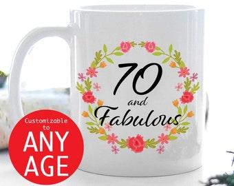 70th Birthday Mug 70 And Fabulous Coffee Gift For Women Anniversary Cute Idea Year Old Wife Aunt Mom Grandmom