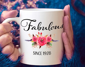 90th Birthday Ideas 90 Year Old Woman Gifts For Women Her Fabulous Since 1928 Mug Yr