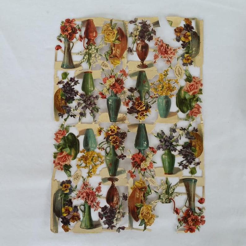 Victorian Scrap Book Raphael Tuck Strip Of Flowers Gigantic Relief Die Cut Outs no 1198