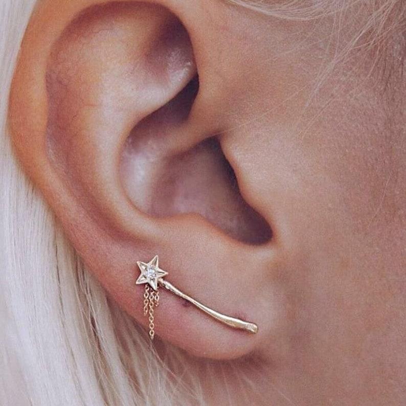 Vintage Crystal Star Ear Climber