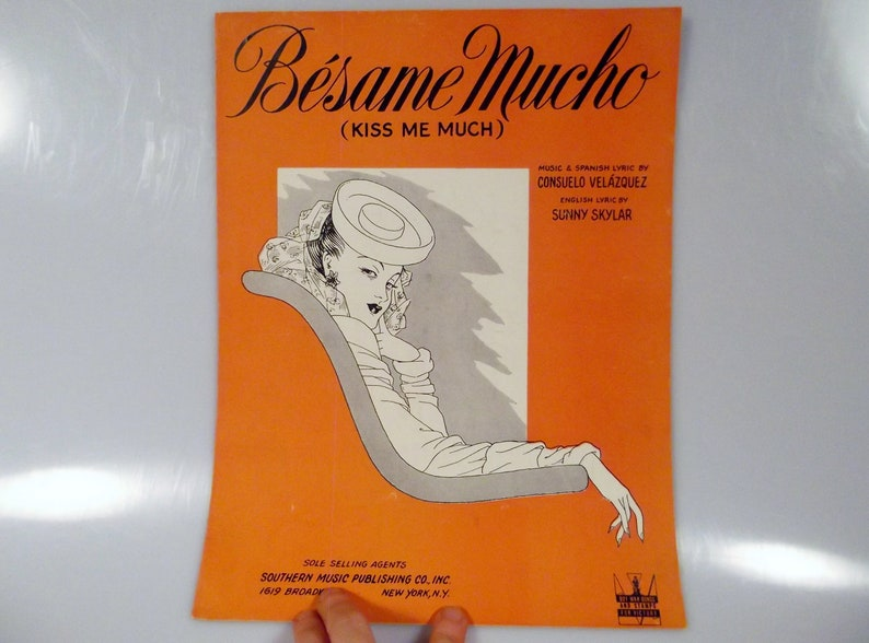 Besame Mucho Kiss Me Much Vintage Piano Guitar Vocal Sheet image 0
