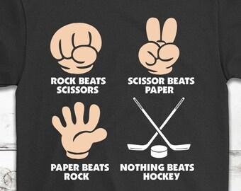 f2492158 Rock Paper Sciccors, Nothing Beat Hockey || Funny Hockey T-Shirt Gift ||  Hockey Lovers || Love Hockey || Hockey Training Shirt || Unisex Tee