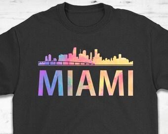 c39d4b9e Miami Skyline Rainbow Style T-Shirt Gift - Miami Florida - Unisex Shirt