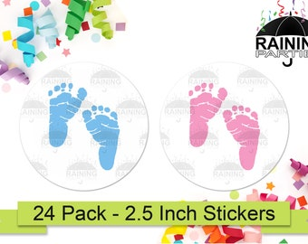 24 BLUE BOY FOOTPRINTS PERSONALIZED BABY SHOWER THANK YOU PARTY STICKERS FAVORS