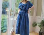 Vintage 1990 39 s Denim Dress, Vintage Corset Tie 90 39 s Dress, Women 39 s Size Medium Denim Long Dress, Floral Denim 90 39 s Summer Cowgirl Boho Dress